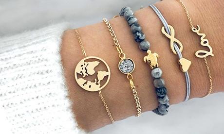 1 o 2 Set di 5 braccialetti in 1 disponibili in 2 modelli