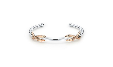 Rose Gold Plated Double Infinity Cuff Bangle