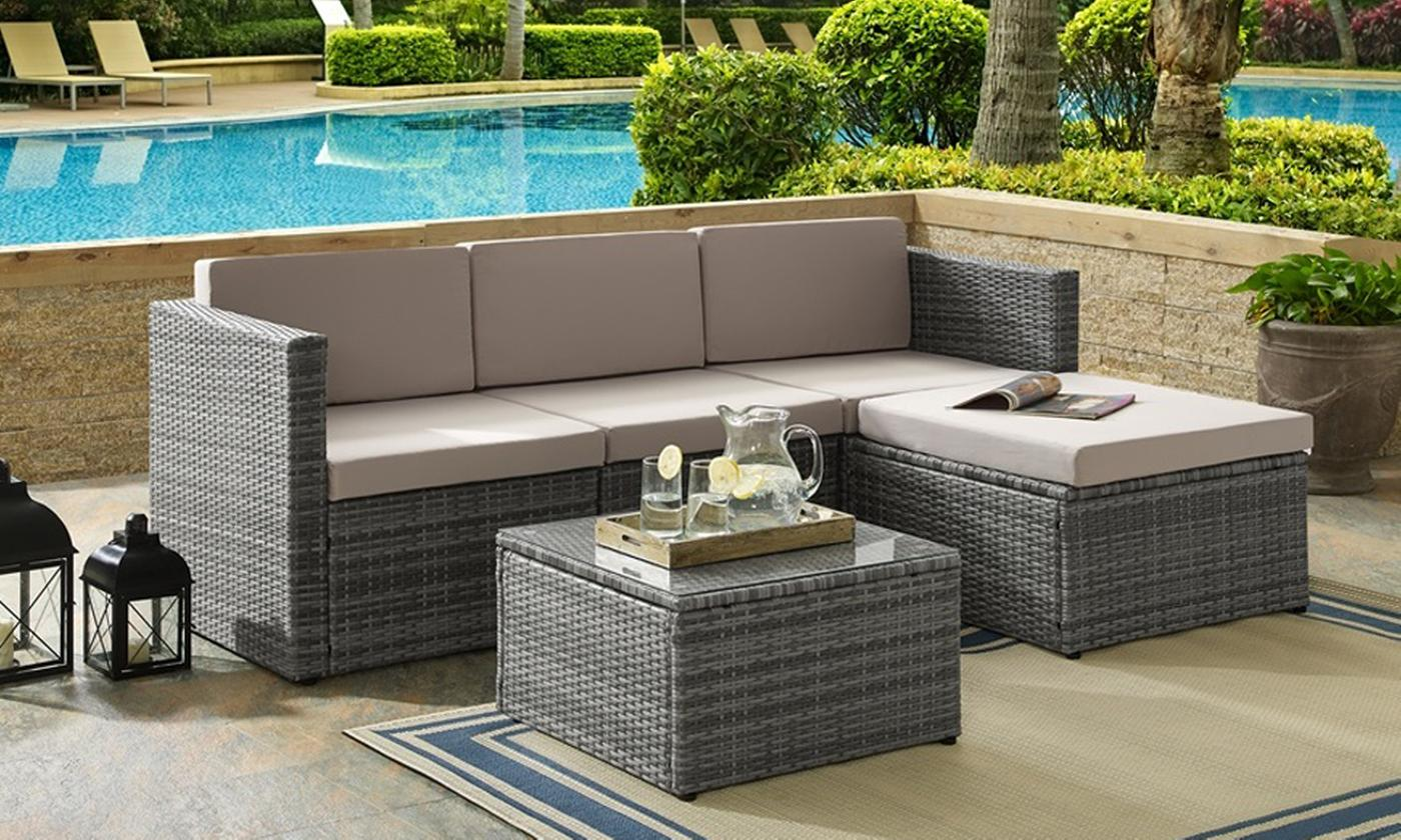 Three-Piece Rattan-Effect Corner Sofa Set (£259.99)