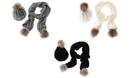 Pom Pom Scarf and Winter Hat in Choice of Colour from £9.98