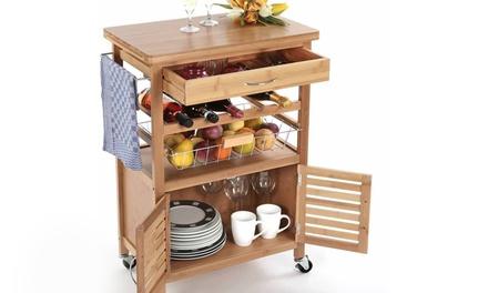 Carrello da cucina in legno di bamboo con 4 ruote e cassetto portabottiglie e portaposate