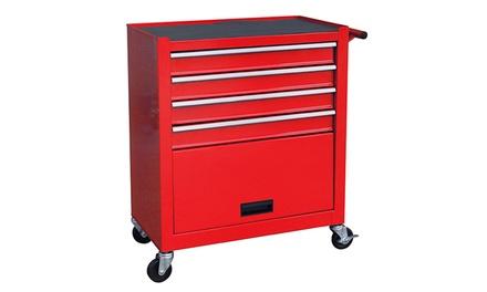 Werkstattwagen mit 4 leichtgängigen Schubladen zur mobilen Aufbewahrung von Werkzeug und Zubehör in Rot (Hamburg)