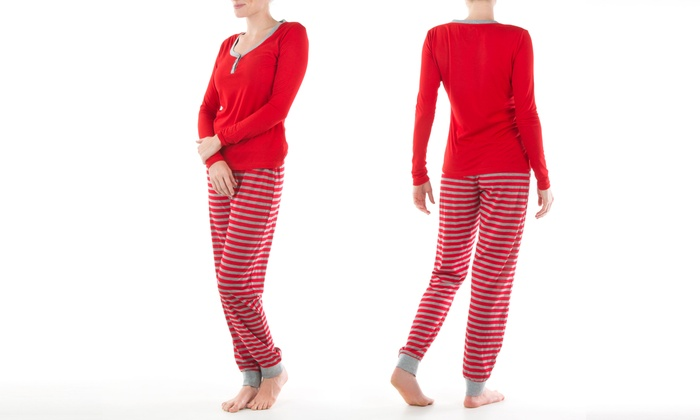 Olive Street Women's Knit Henley and Jogger Pants Pajama Set (Size XL)