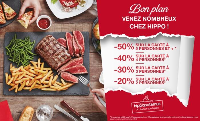 Chez Hippopotamus, pour 1€ seulement bénéficiez jusqu'à -50% sur la carte*, valable de 2 à 10 pers. - Région Paris/IDF