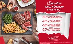 Hippopotamus: Chez Hippopotamus, pour 1€ seulement bénéficiez jusqu'à -50% sur la carte*, valable de 2 à 10 pers. - Région Paris/IDF