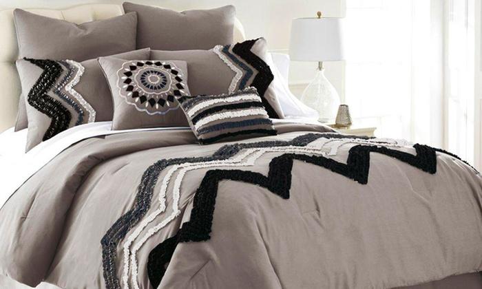 8 Piece Ruffled Comforter Set Groupon Goods