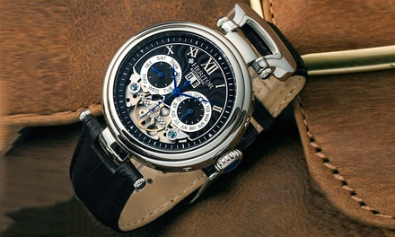 Montre Heritor Automatique en acier inoxydable et bracelet en cuir à 129.99€ (91% de réduction)