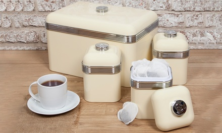 Swan Bread Bin and Three Canisters Set in Choice of Colour