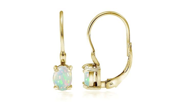 1 2 Ctw Genuine Ethiopian Opal Leverback Earrings