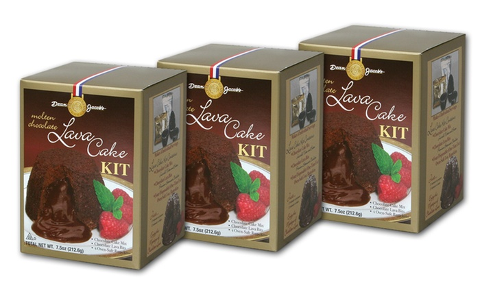 Dean Jacobs Molten Lava-Cake Kit 3-Pack: 3-Pack of Dean Jacobs Molten Lava-Cake Kits with Disposable Ramekins