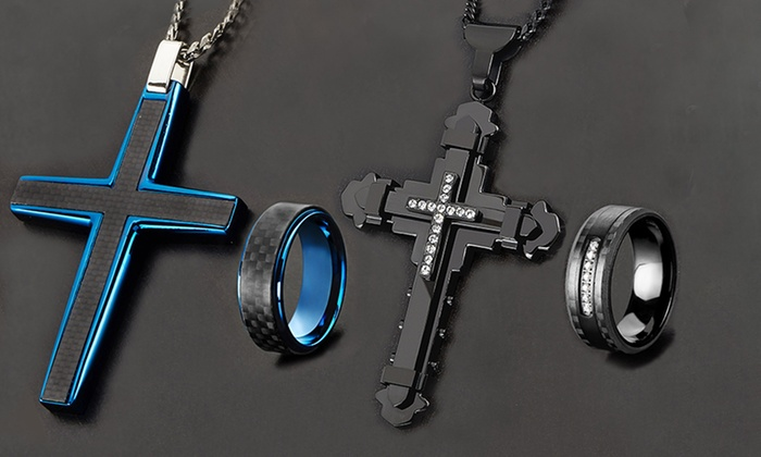 Men's Stainless Steel Cross and Ring Jewelry Set (2-Piece): Men's Stainless Steel Cross and Ring Jewelry Set (2-Piece)