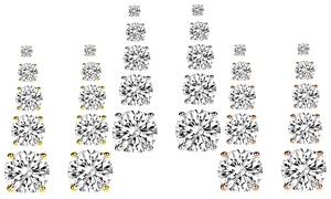 9 CTTW Swarovski Elements Stud Earrings Set (5-Pairs)
