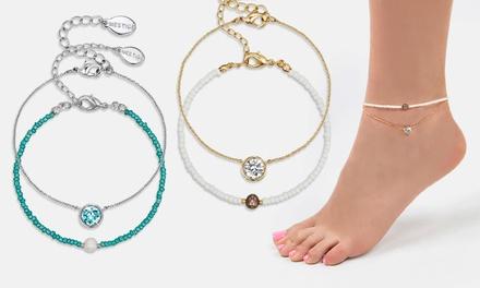Neverland Sales Fußketten-Duo Pasha mit Perlen und Kristallen von Swarovski® in der Farbe nach Wahl inkl. Versand (Munchen)