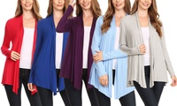 Women's Solid Casual Lightweight Long Sleeve Cardigan. Plus Sizes Available.