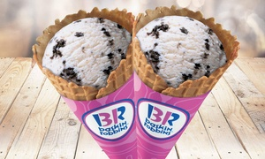 Baskin Robbins (Belridge): Two Waffle Ice Cream Cones - Single ($6.5) or Double Scoop ($11) at Baskin Robbins, Beldon (Up to $17.4 Value)