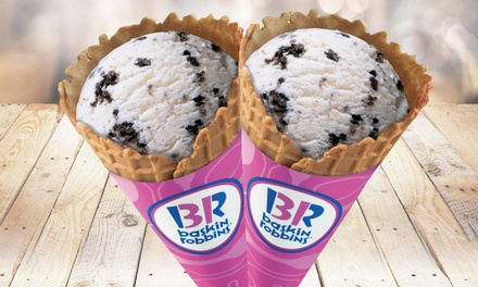 Two Waffle Ice Cream Cones Single $6.5 or Double Scoop $11 at Baskin Robbins, Beldon Up to $17.4 Value