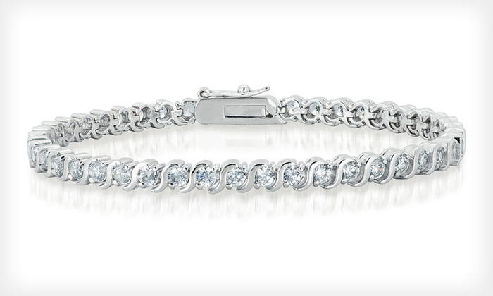 Cubic-Zirconia Tennis Bracelet : $20 for a Cubic-Zirconia Tennis Bracelet ($99 List Price). Two Styles Available. Free Shipping.