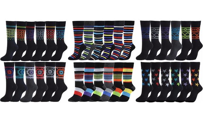 Men's Assorted Printed Dress Socks (12 Pairs)