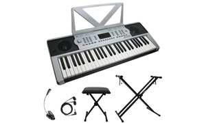 Sawtooth 54-Key Portable Keyboard with Accessories Set (7-Piece)