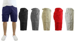 27e20353d5f892 Men s 100% Cotton Belted Cargo Shorts (Size ...
