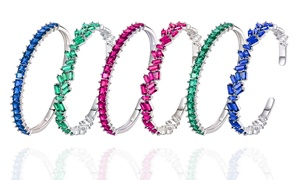 Peermont Lab-Created Emerald, Ruby, or Blue Sapphire Stackable Bangle
