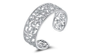 Genuine Diamond Accent Filigree Leaf Cuff Bracelet