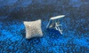 Men's 18k Gold & Sterling Silver Square or Round Screw Back Earrings