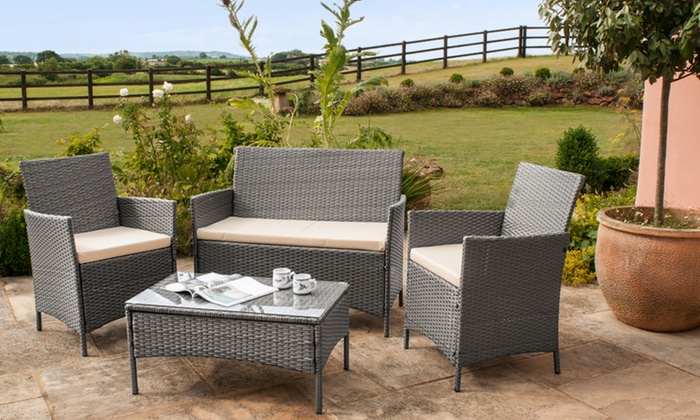 groupon goods global gmbh roma pe rattan four piece garden furniture set with optional