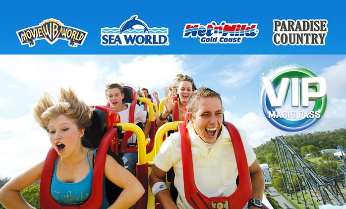 $89.99 Unlimited VIP Magic Pass to Warner Bros. Movie World, Sea World, Wet'n'Wild Gold Coast + Paradise Country