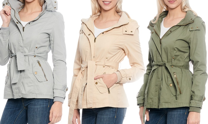 Women's Belted Distressed Cotton Parka Jacket with Hood | Groupon