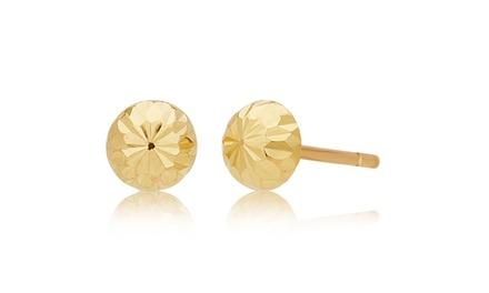 Half-Diamond Cut Ball Stud Earring in 14K Yellow Gold by L'Artiste