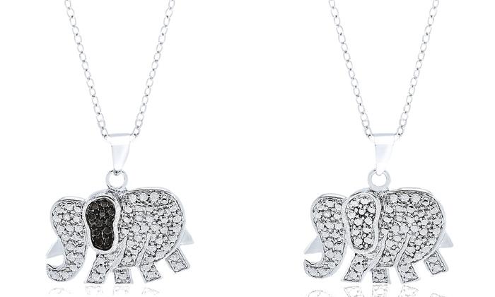 diamond accent elephant pendant necklace