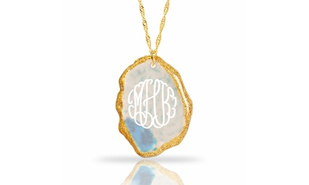 Gold-Plated Natural Agate Stone Monogram Pendant