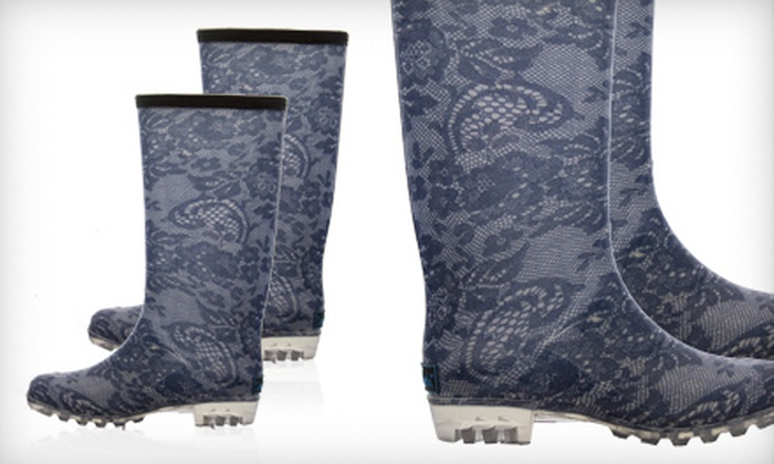 BootsiTootsi Blue Lace Rain Boots: $24 for a Pair of BootsiTootsi Blue Lace Rain Boots ($48 List Price). Five Sizes Available. Free Shipping.