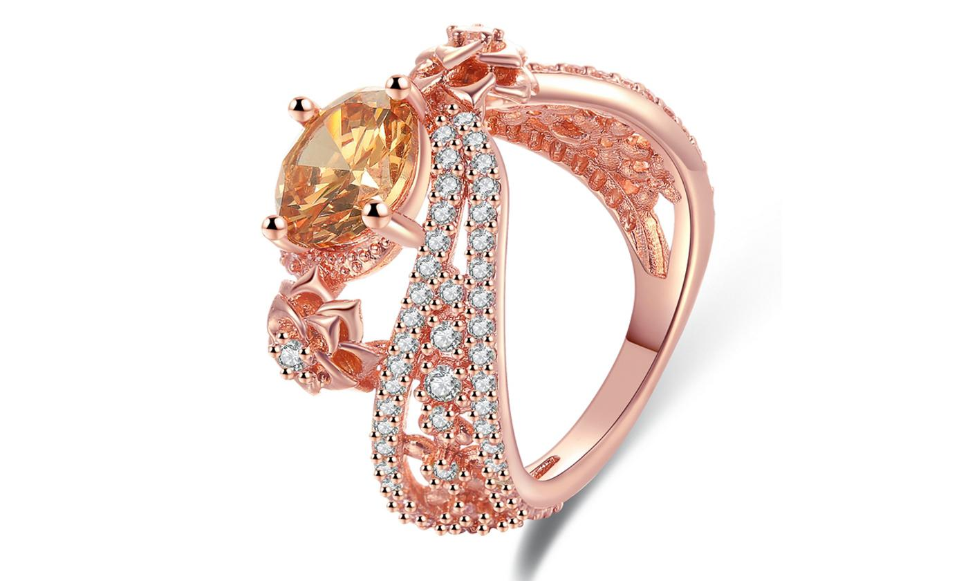 18K Rose Gold Plated Champagne Colored Cubic Zirconia Swirl Statement Ring