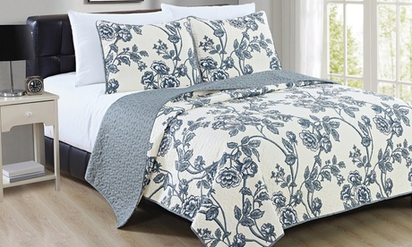 Reversible Super-Soft Floral Quilt Set (2- or 3-Piece)