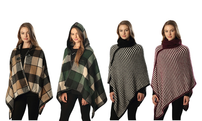 Women's Ponchos with Stripes or Checks