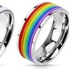 Unisex Rainbow Stainless Steel Pride Rings