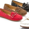 Lady Godiva Women's Boat Shoe with Buckle and Bow