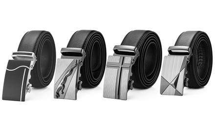 1 ou 2 ceintures homme 100% cuir à fermeture automatique et boucle ajustable