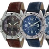 Analog-Digital Faceted Crystal Leather Watch