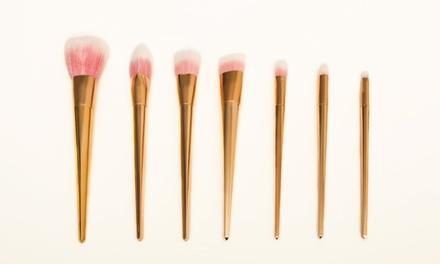 1 o 2 sets de 7 brochas de maquillaje de color rosa oro