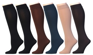 Women's Frenchic Opaque Plush Fleece-Lined Knee-High Socks (6 Pairs)
