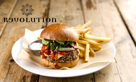 Pizza or Burger and Cocktail for One or Two at Revolution Bars, Multiple Locations