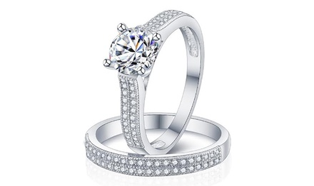 Sreema London Double Pave Engagement Ring Set