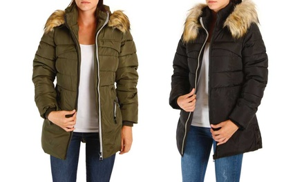 Faux-Fur Trim Padded Coat in Choice of Size and Colour