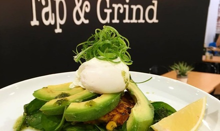 Breakfast with Hot Drink for One ($12), Two ($24), Four ($48) or Six People ($72) at Tap & Grind (Up to $138 Value)