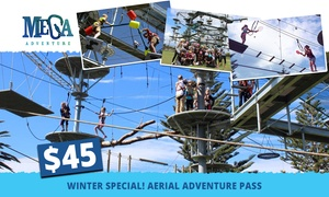Mega Adventure Park: $45 for an All-Access SkyChallenge Aerial Adventure Pass for One Person at Mega Adventure Park (Up to $65 Value)