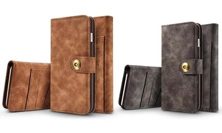 1 of 2 suède hoesjes met portemonnee voor iPhone