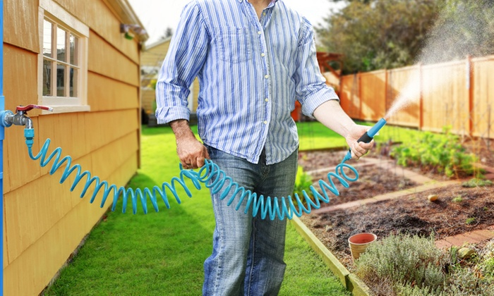 One or Two Spiral Garden Hoses with Removable Nozzles for £10